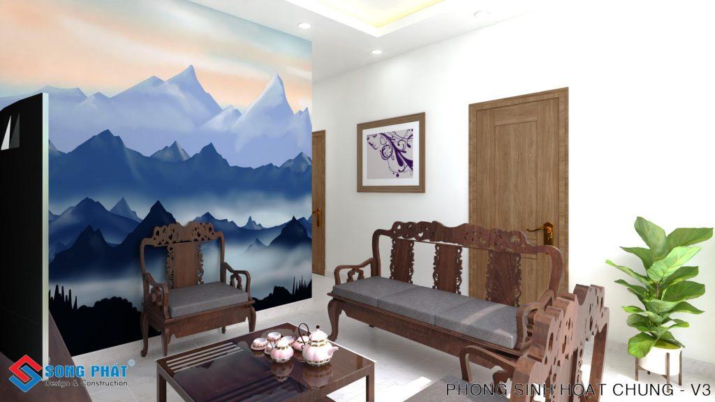 Phòng khách với bàn ghế bằng gỗ.