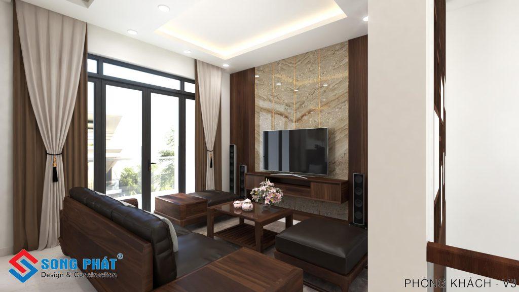 Phòng khách sáng hơn với nội thất gỗ và tấm pvc vân đá.
