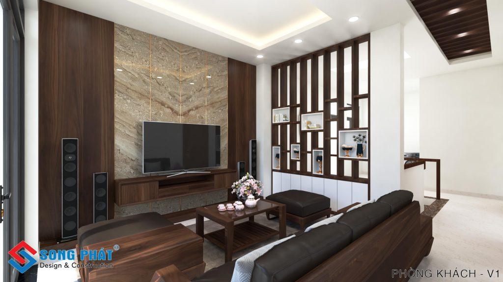 Phòng khách với vách ngăn gỗ đẹp.
