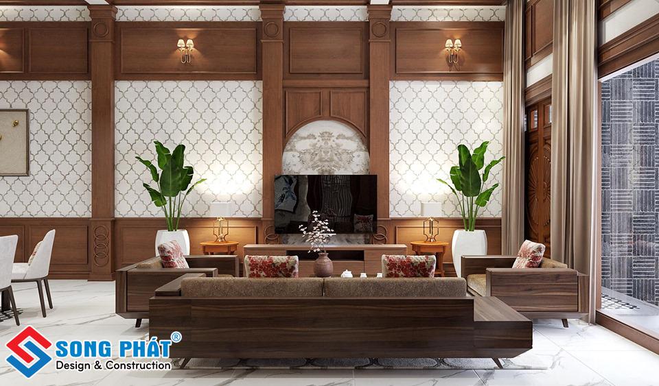 Thiết ké nội thất phòng khách bằng gỗ đẹp.