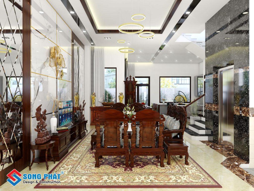 Mẫu nội thất phòng khách bằng gỗ gõ đỏ của chú Thịnh.