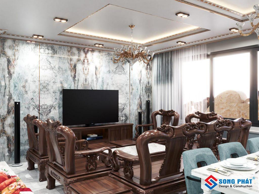 Nội thất phòng khách bằng gỗ phong cách tân cổ điển.