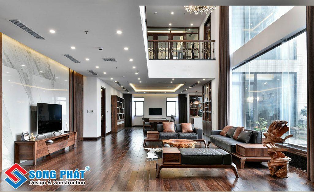 Nội thất phòng khách sang trọng với gỗ.