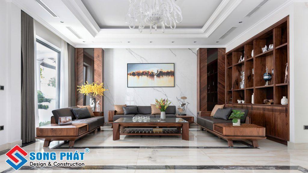 Trang trí nội thất phòng khách bằng gỗ.
