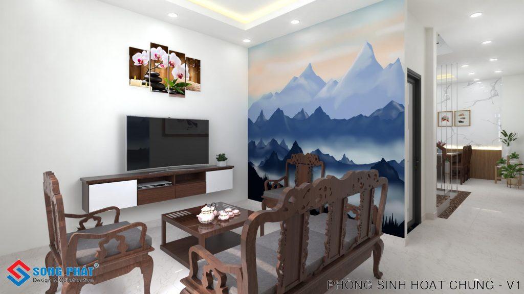 Phòng khách đơn giản với nội thất gỗ.