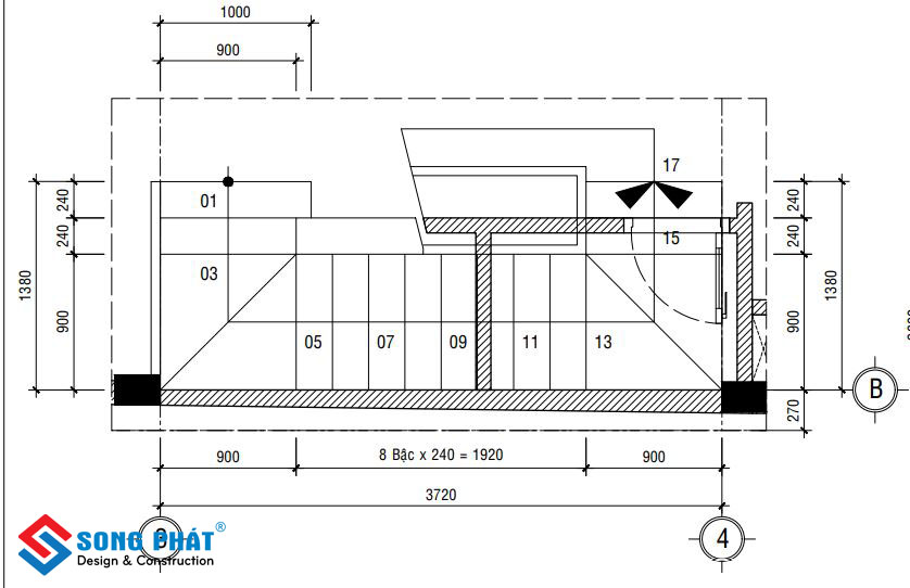 17 bậc thang với chiều dài 3m72.