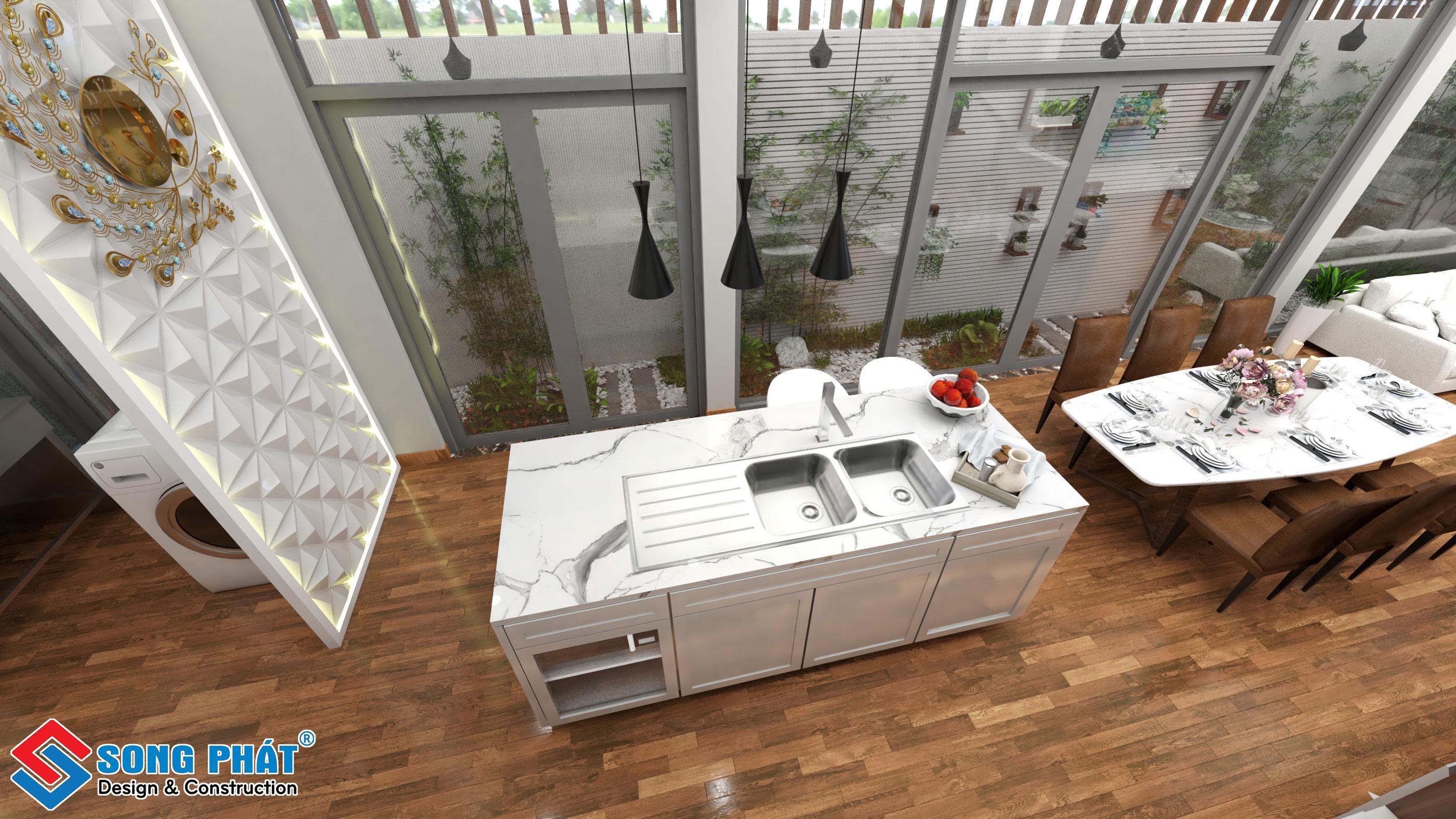 Bàn đảo bếp có lavabo.