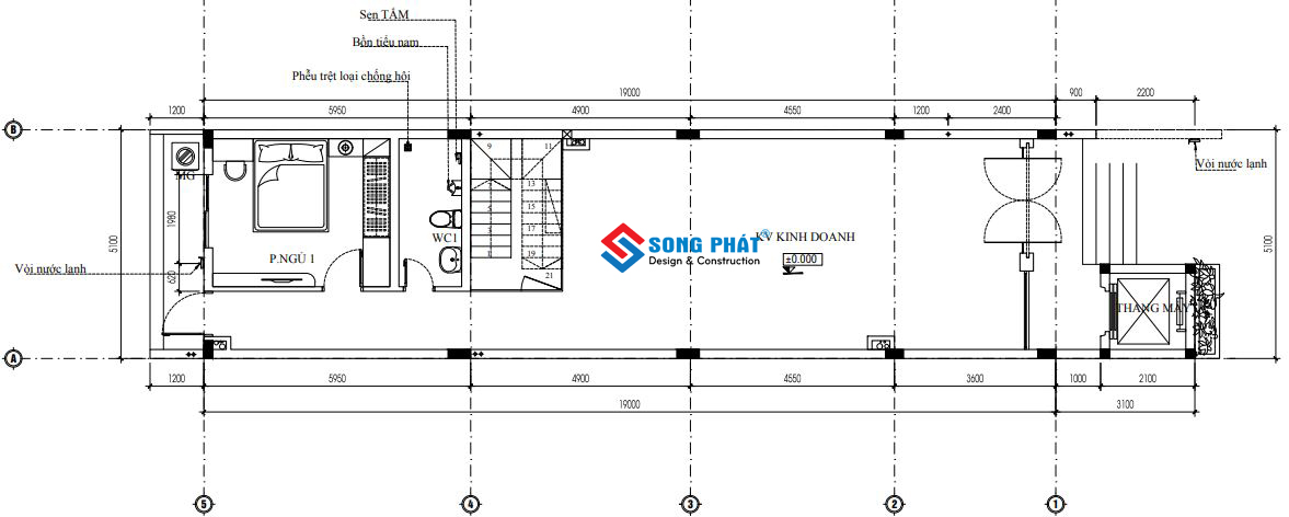 Mặt bằng tầng trệt diện tích 5x22m thiết kế nhà có thang máy ngoài trời.