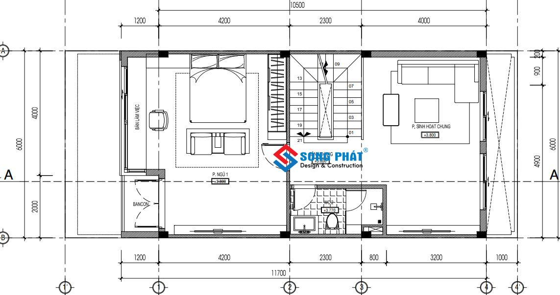 Mặt bằng lầu 1 nhà 3 tầng sân thượng 6x14m5.