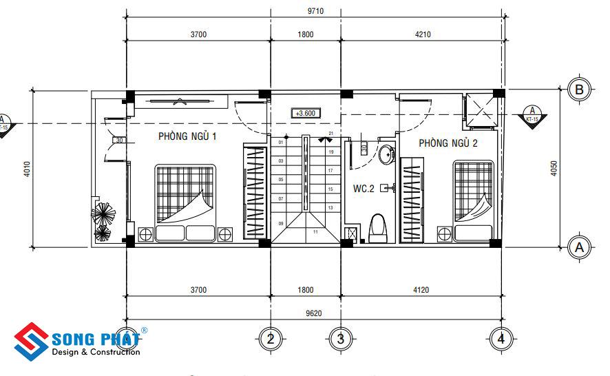 Lầu 2 là khu vực phòng ngủ cho từng thành viên