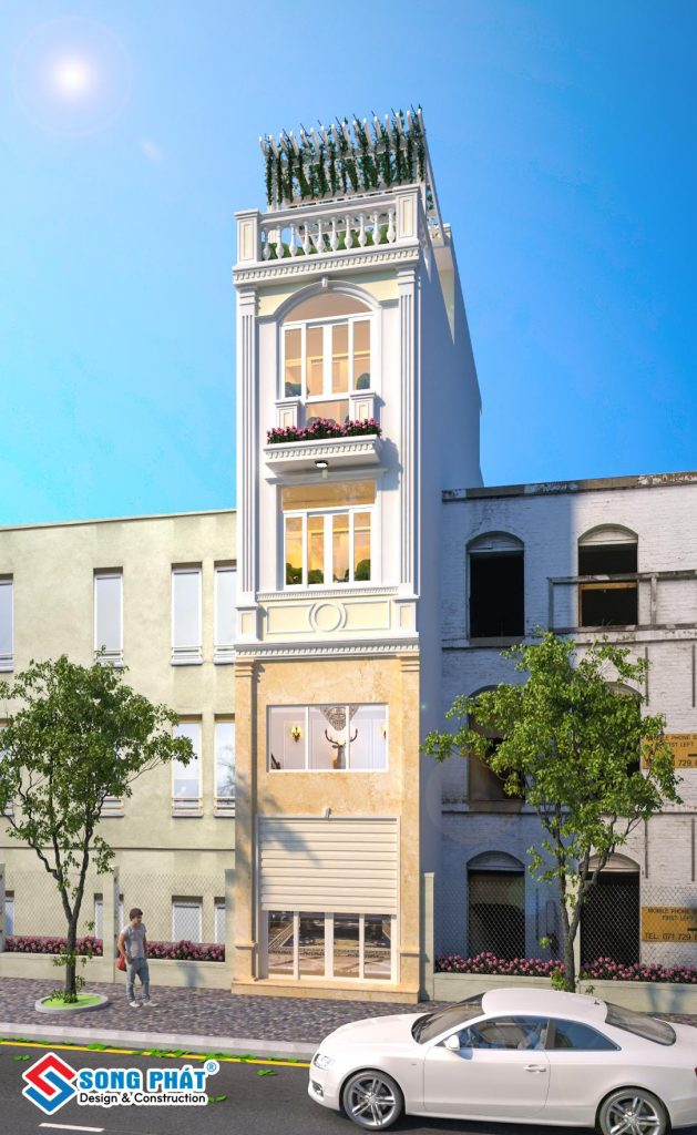 Mẫu mặt tiền nhà trệt lửng 2 lầu sân thượng tân cổ điển