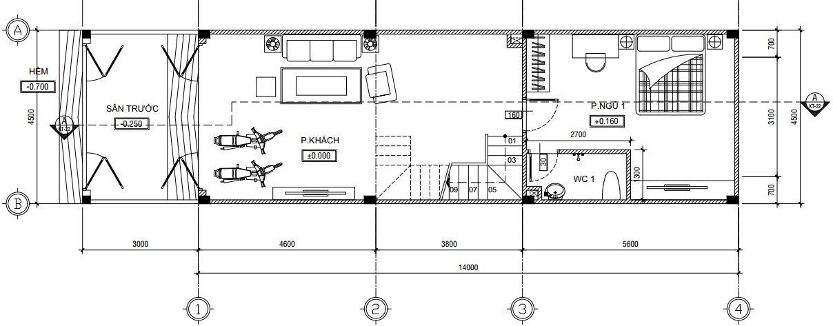 Tầng trệt nhà trệt lửng 2 lầu sân thượng 4m5 x 17m.