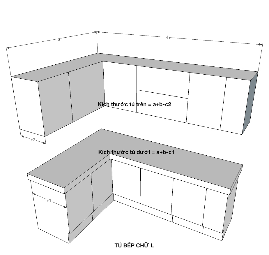 Tính kích thước tủ bếp chữ L