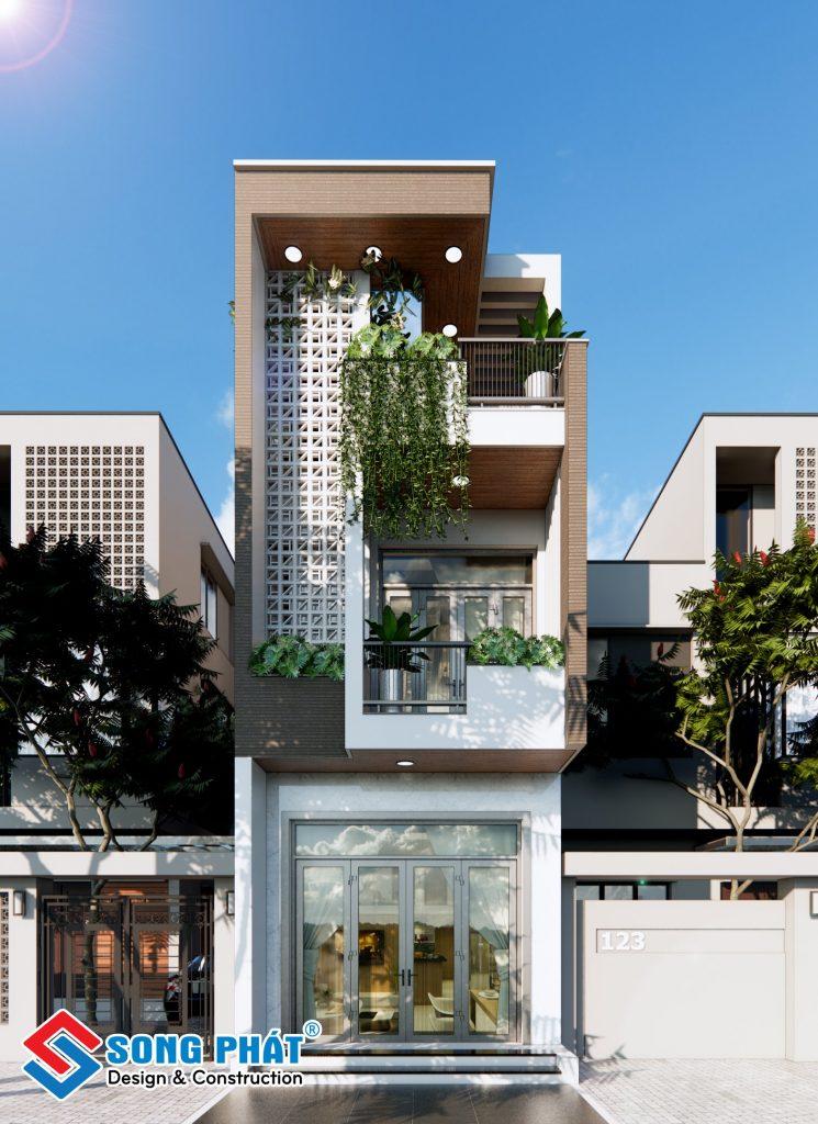 Mặt tiền nhà 1 trệt 1 lầu sân thượng 4x16m.