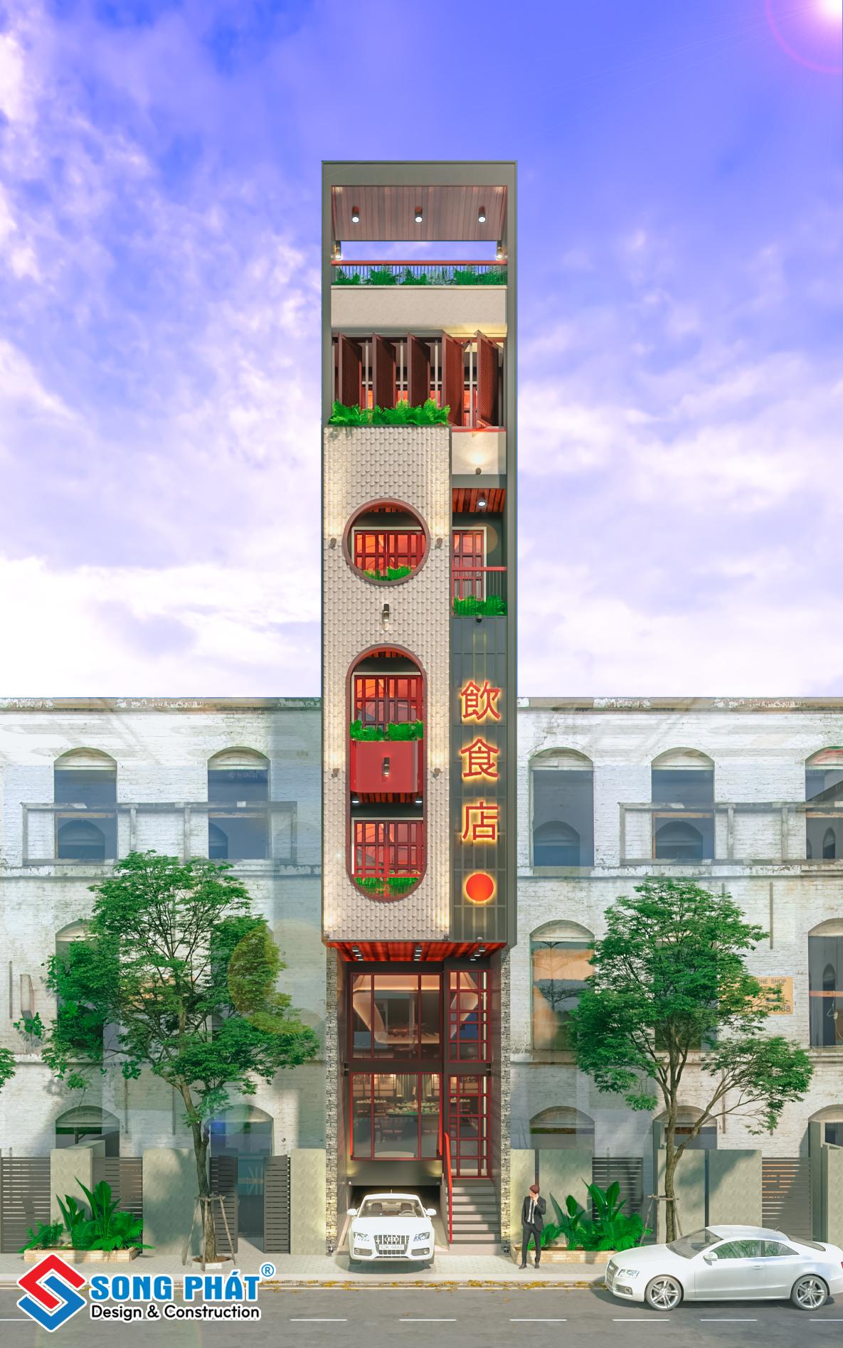 Nhà trệt lửng 4 lầu sân thượng 4m7x20m.