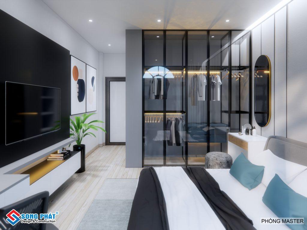 Nội thất phòng ngủ master thiết kế với tông màu lạnh đen, xám, trắng